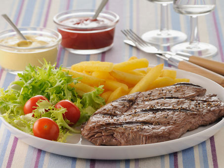Muscle building steak and chips