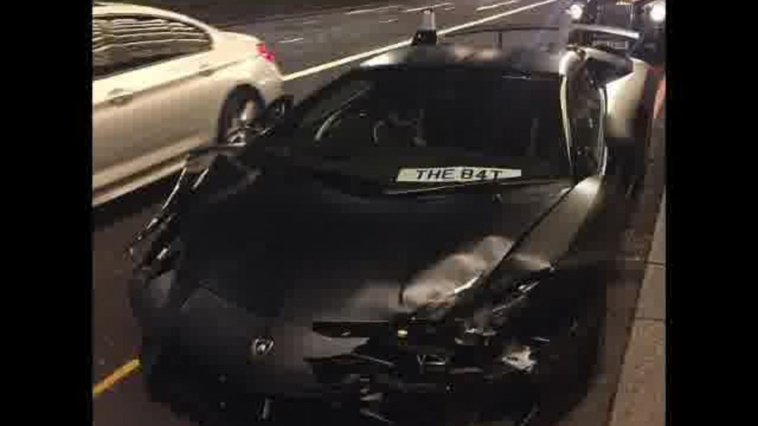 CAUGHT LIVE: Lamborghini crashes in London while racing