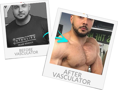 Before and after using Vasculator