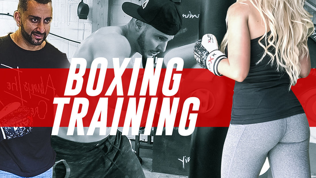 VERY HOT fitness babe gets trained by Pro Boxer Chris Evangelou @Yiannimize!
