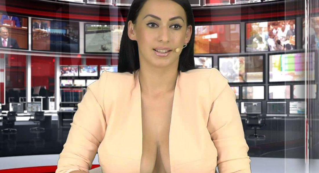 News reader gives viewers the SHOCK of their lives