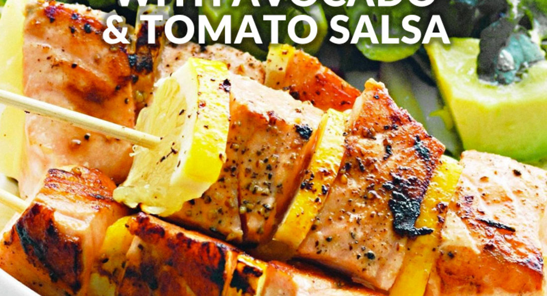 Protein Packed Salmon Skewers with Avocado & Tomato Salsa