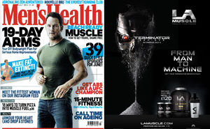 LA Muscle Terminator Movie partnership featured in the July 2015 issue of Men's Health Magazine