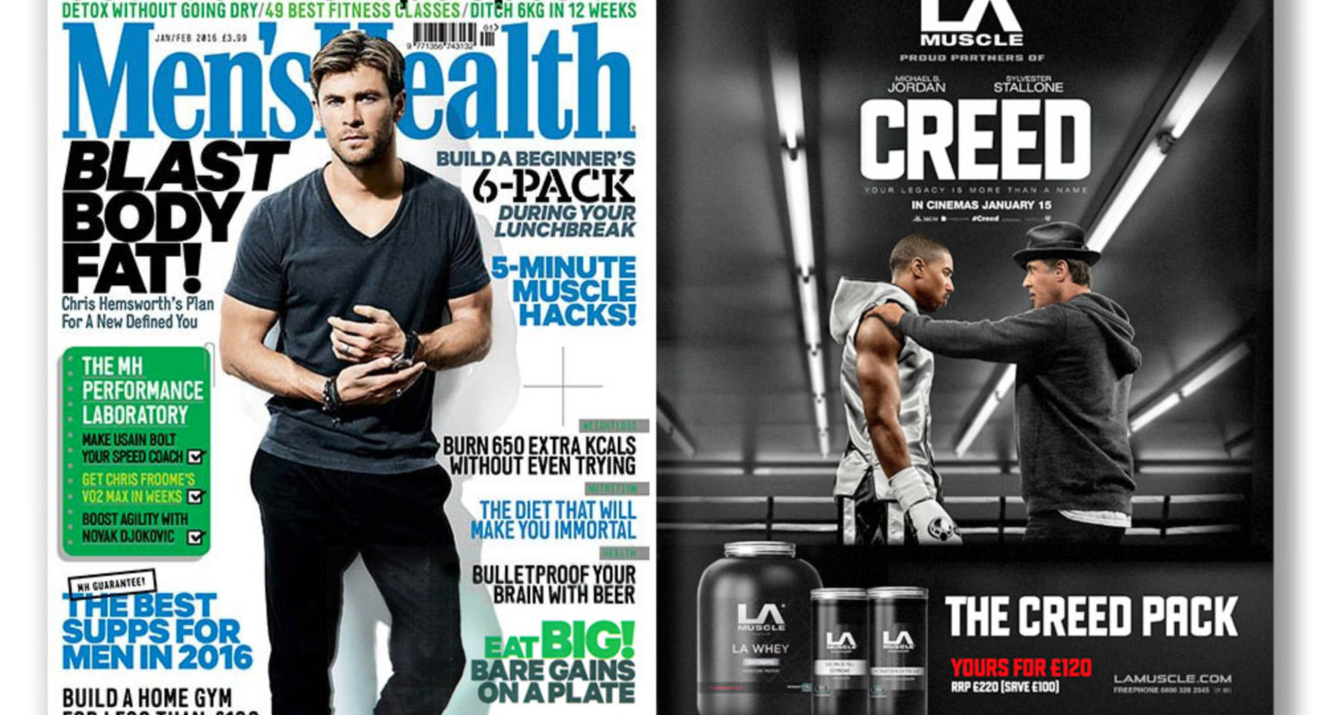 LA Muscle & Creed featured in Men's Health