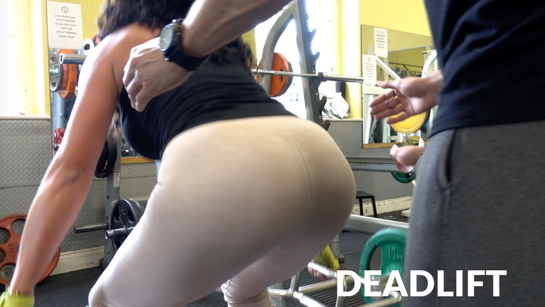 SHY personal trainer aroused by sexy glamour model during workout