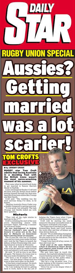 Tom Croft's Daily Star Exclusive